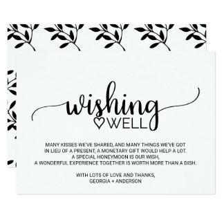 Black And White Calligraphy Wedding Wishing Well Card