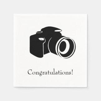 Black and White Camera Congratulations Disposable Napkin