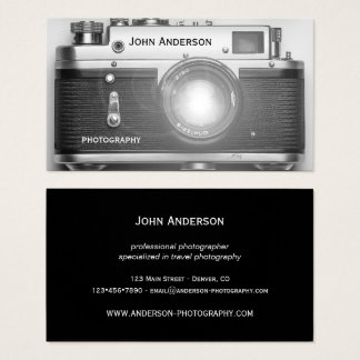 Black and White Camera Photographer Business Card