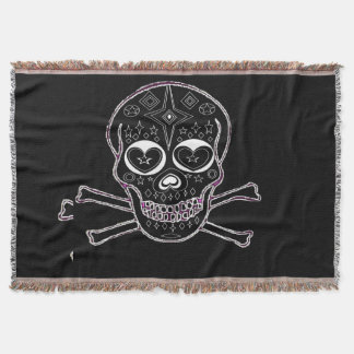 black and white candyskull throw rug