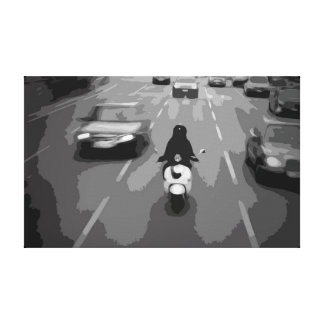 Black and White Canvas with a Scooter in Traffic