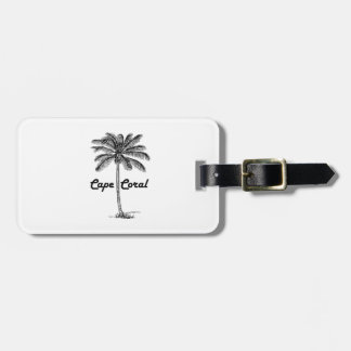 Black and White Cape Coral & Palm design Bag Tag