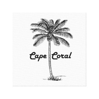 Black and White Cape Coral & Palm design Canvas Print