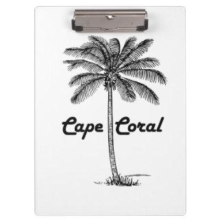 Black and White Cape Coral & Palm design Clipboard