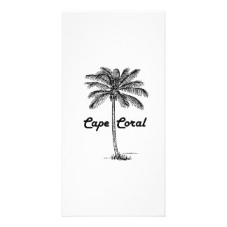 Black and White Cape Coral & Palm design Customized Photo Card