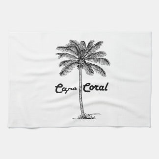 Black and White Cape Coral & Palm design Hand Towel