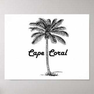 Black and White Cape Coral & Palm design Poster