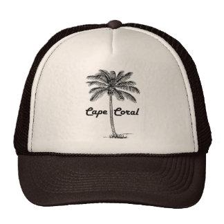 Black and White Cape Coral & Palm design Trucker Hat