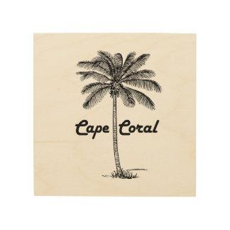 Black and White Cape Coral & Palm design Wood Canvas