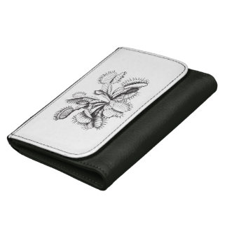 Black and White Carnivorous Venus Flytrap Wallets For Women