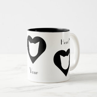 Black-and-White Cat and Heart Mug