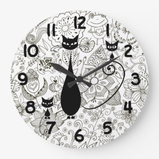 Black and White Cat and Kittens Wall Clock