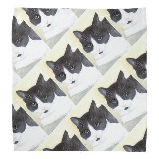 Black and White Cat Bandana