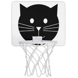 Black and White Cat Basketball Hoop