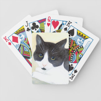 Black and White Cat Bicycle Playing Cards