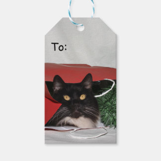 Black and white cat Christmas Gift Tags