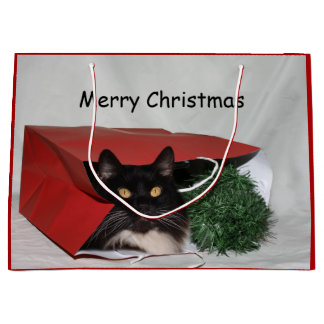 Black and white cat Christmas Large Gift Bag
