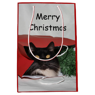 Black and white cat Christmas Medium Gift Bag