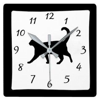 Black and White Cat Clock