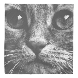 Black and White Cat Close Up Print Duvet Cover
