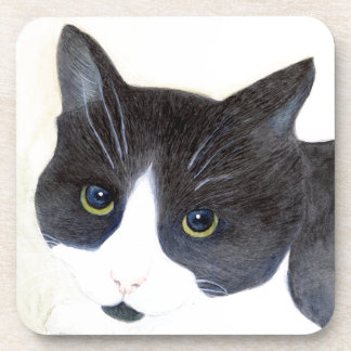 Black and White Cat Coaster