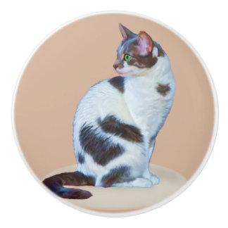 Black and White Cat, Customizable Ceramic Knob