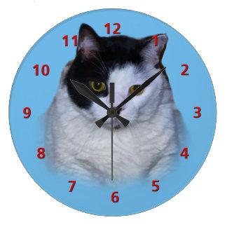 Black and White Cat, Customizable Clock