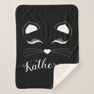 Black and White Cat Face Sherpa Blanket
