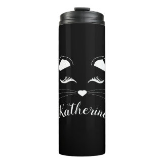 Black and White Cat Face Thermal Tumbler