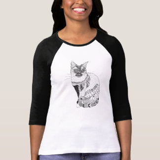 Black and white cat illustration shirt