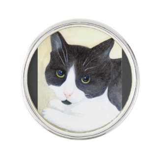 Black and White Cat Lapel Pin