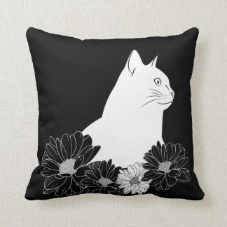 Black and white cat line drawing with flowers throw pillow