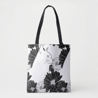 Black and white cat line drawing with flowers tote bag