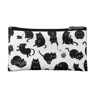 Black and white cat lovers cosmetics case cosmetic bags