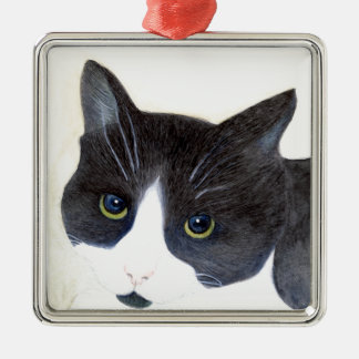 Black and White Cat Metal Ornament