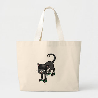 Black and white cat on Rollerskates Large Tote Bag