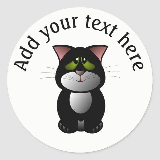 Black and White Cat Personalized Classic Round Sticker