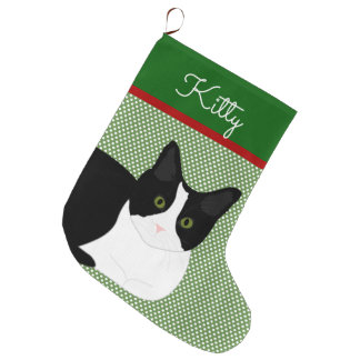 Black And White Cat Personalized Large Christmas Stocking