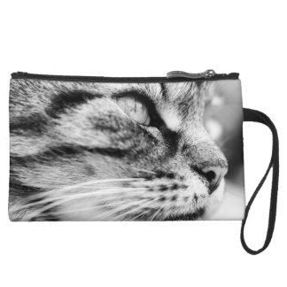Black and white cat picture, sueded mini clutch. wristlet clutch