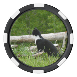 Black And White Cat Poker Chip
