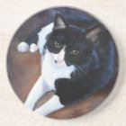 Black and White Cat Portrait Coaster