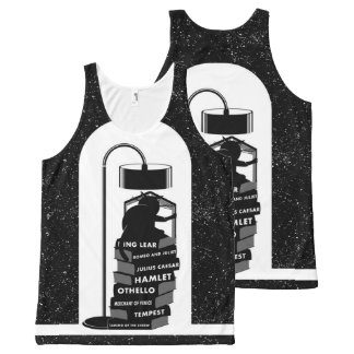 Black and White Cat Reading Shakespeare Plays All-Over-Print Tank Top