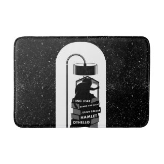 Black and White Cat Reading Shakespeare Plays Bath Mat