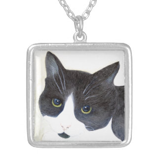 Black and White Cat Silver Plated Necklace