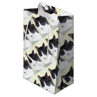 Black and White Cat Small Gift Bag