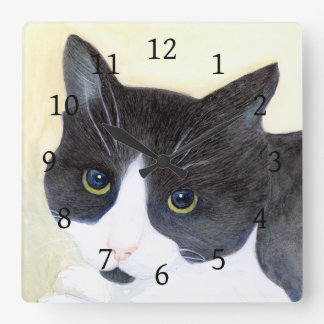 Black and White Cat Square Wall Clock