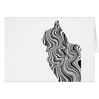 Black and White Cat Swirl Lines Feline monochrome Card