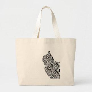 Black and White Cat Swirl Lines Feline monochrome Large Tote Bag