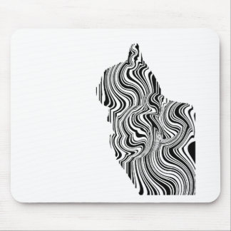 Black and White Cat Swirl Lines Feline monochrome Mouse Pad