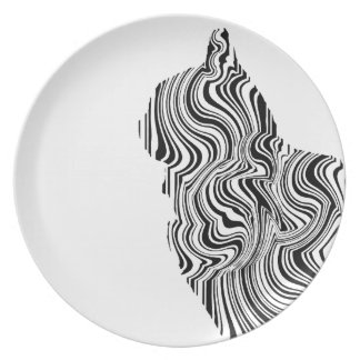Black and White Cat Swirl Lines Feline monochrome Plates
